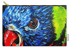 Carry-all Pouch featuring the painting Rainbow Lorikeet Look by Julie Brugh Riffey
