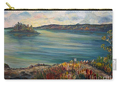 Carry-all Pouch featuring the painting Rainy Lake Michigan by Julie Brugh Riffey