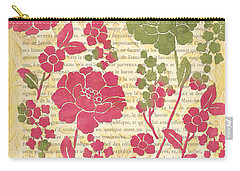 Raspberry Sorbet Floral 2 Carry-all Pouch by Debbie DeWitt