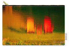 Carry-all Pouch featuring the photograph Red And Orange Chairs by Les Palenik