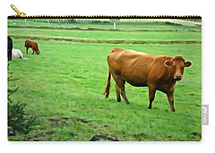 Carry-all Pouch featuring the photograph Red Cow by Charlie and Norma Brock