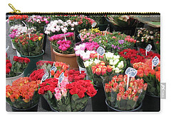 Carry-all Pouch featuring the photograph Red Flowers In French Flower Market by Carla Parris