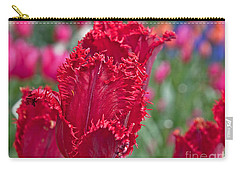 Red Fringed Tulip Flower Macro Art Prints Carry-all Pouch