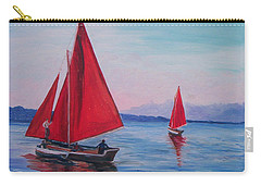 Carry-all Pouch featuring the painting Red Sails On Irish Coast by Julie Brugh Riffey