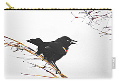 Carry-all Pouch featuring the digital art Red Winged Blackbird by Lizi Beard-Ward