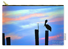 Carry-all Pouch featuring the photograph Reflections In Water With Pelican by Dan Friend