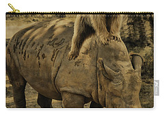 Riding Along- Rhino And Bear Carry-all Pouch