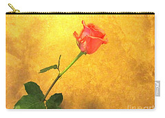Rose On Leather Carry-all Pouch by Susan Carella