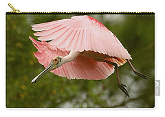 Roseate Spoonbill In Flight Carry-all Pouch by Myrna Bradshaw