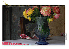 Carry-all Pouch featuring the photograph Roses In Blue Glass Vase by Lainie Wrightson
