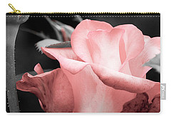 Roses In Pink And Gray Carry-all Pouch