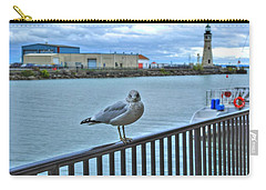 Carry-all Pouch featuring the photograph Seagull At Lighthouse by Michael Frank Jr