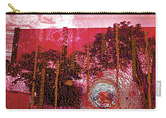 Carry-all Pouch featuring the photograph Abstract Shattered Glass Red by Andy Prendy