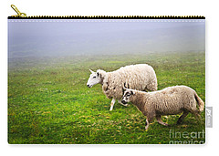 Sheep In Misty Meadow Carry-all Pouch by Elena Elisseeva