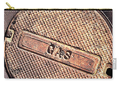 Carry-all Pouch featuring the photograph Sidewalk Gas Cover by Bill Owen