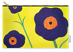 Carry-all Pouch featuring the painting Sky High Flowers by Alys Caviness-Gober