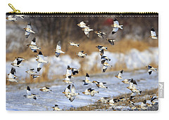 Snow Buntings Carry-all Pouch by Tony Beck