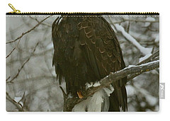 Carry-all Pouch featuring the photograph Snow Eagle by Myrna Bradshaw