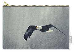 Carry-all Pouch featuring the photograph Snow Flight by Myrna Bradshaw