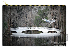 Carry-all Pouch featuring the photograph Southern Plantation Flying Egret by Dan Friend