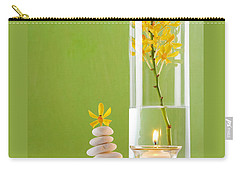 Carry-all Pouch featuring the photograph Spa Concepts With Green Background by Atiketta Sangasaeng