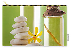 Carry-all Pouch featuring the photograph Spa Oil Bottles by Atiketta Sangasaeng