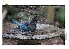 Carry-all Pouch featuring the digital art Stellar Jay In The Birdbath by Carol Ailles