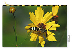 Striped Bee On Wildflower Carry-all Pouch