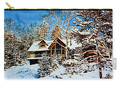 Carry-all Pouch featuring the painting Summer House Portrait In Winter by Hanne Lore Koehler