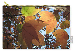 Carry-all Pouch featuring the photograph Sun-lite Fall Leaves by Donna Brown