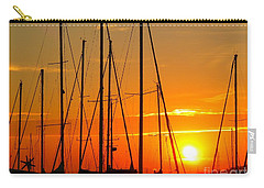 Carry-all Pouch featuring the mixed media Sunset In A Harbour Digital Photo Painting by Rogerio Mariani
