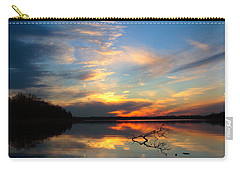 Carry-all Pouch featuring the photograph Sunset Over Calm Lake by Daniel Reed