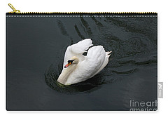 Carry-all Pouch featuring the photograph Swan On Black Water by Les Palenik