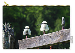 Carry-all Pouch featuring the photograph Telephone Pole And Insulators by Sherman Perry