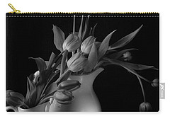 Carry-all Pouch featuring the photograph The Beauty Of Tulips In Black And White by Sherry Hallemeier