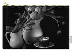 The Beauty Of Tulips In Black And White Carry-all Pouch by Sherry Hallemeier