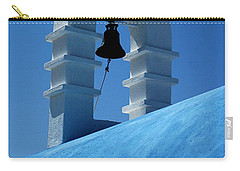 Carry-all Pouch featuring the photograph The Bell Tower In Mykonos by Vivian Christopher