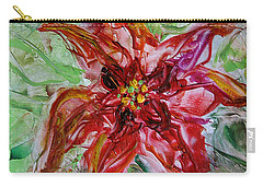 Carry-all Pouch featuring the painting The Christmas Poinsettia by Dragica  Micki Fortuna