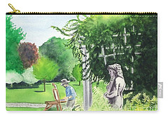 Carry-all Pouch featuring the painting the garden at the wellers carriage house in Saline  Michigan 1 by Yoshiko Mishina