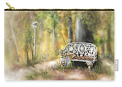 Carry-all Pouch featuring the painting The Garden Bench by Bonnie Willis