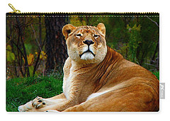 Carry-all Pouch featuring the photograph The Lioness by Davandra Cribbie