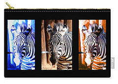 Carry-all Pouch featuring the photograph The Three Zebras Black Borders by Rebecca Margraf