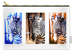 Carry-all Pouch featuring the photograph The Three Zebras White Borders by Rebecca Margraf