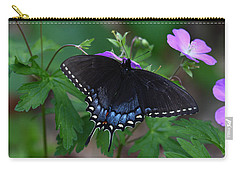 Carry-all Pouch featuring the photograph Tiger Swallowtail Female Dark Form On Wild Geranium by Daniel Reed