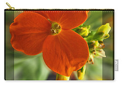 Carry-all Pouch featuring the photograph Tiny Orange Flower by Debbie Portwood