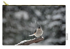 Carry-all Pouch featuring the photograph Titmouse Endures Snowstorm by Mike Martin