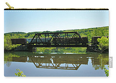 Carry-all Pouch featuring the photograph Train And Trestle by Sherman Perry