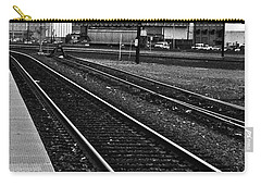 Carry-all Pouch featuring the photograph train tracks - Black and White by Bill Owen