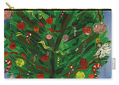 Carry-all Pouch featuring the painting Tree In The Blue Room by Mary Carol Williams