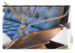 Tufted Leather Interior Of Antique Carriage Carry-all Pouch by Connie Fox